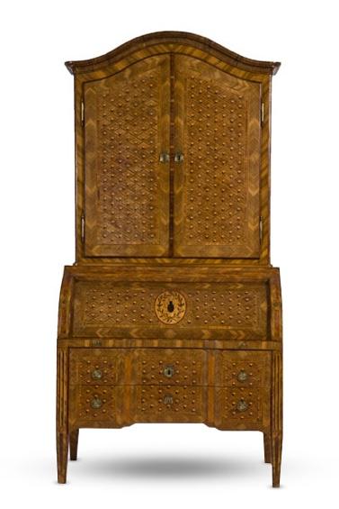 Trois-corps Louis XVI aux armes Schroeter, XVIIIe s., Inconnu, bois divers, bronze.